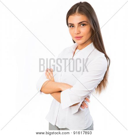 Young smiling businesswoman portrait isolated on white background