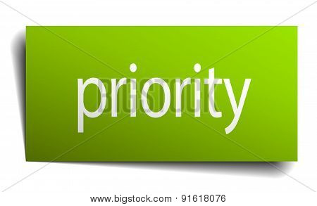 Priority Square Paper Sign Isolated On White