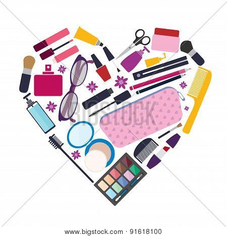 Beauty and care cosmetic products and make up elements