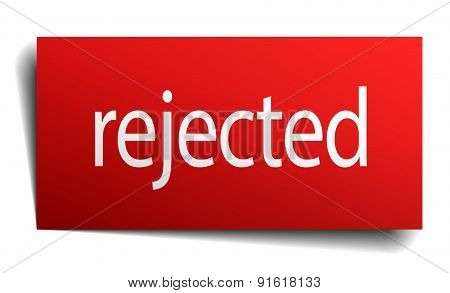 Rejected Red Paper Sign On White Background