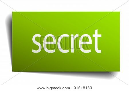 Secret Square Paper Sign Isolated On White