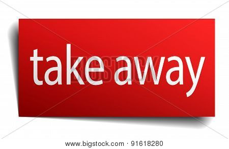 Take Away Red Paper Sign On White Background