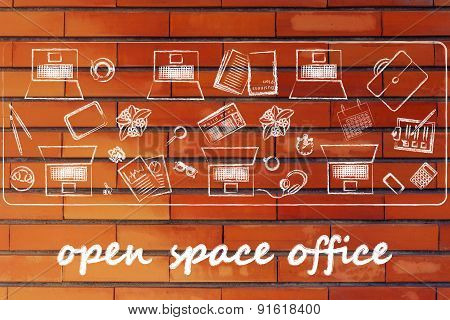 Open Space Office And Teamwork: Shared Desk With Laptops And Business Objects