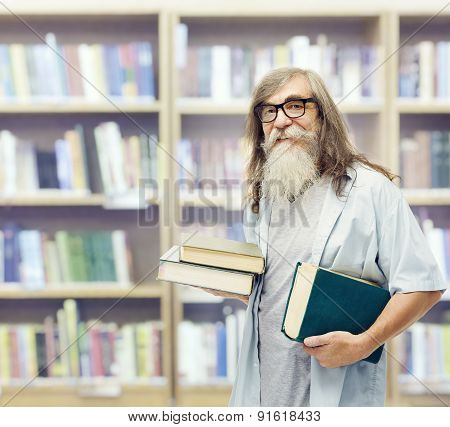 Senior With Books Glasses, Beard Student Old Man Education In Library