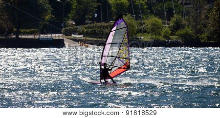 Windsurfer In Lake Como