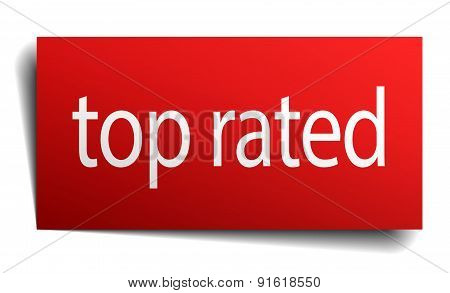 Top Rated Red Paper Sign On White Background