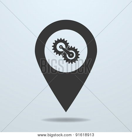 Map Pointer With A Gears