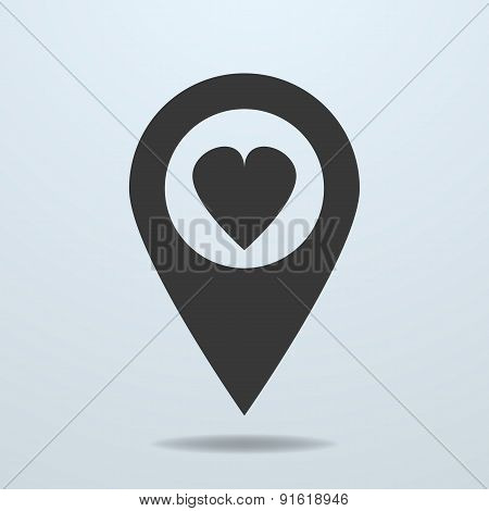 Map Pointer With A Heart Symbol