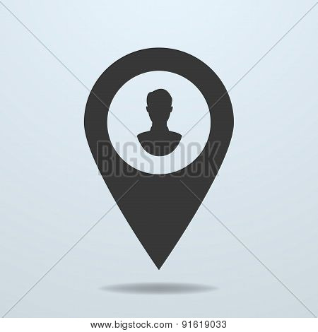 Map Pointer With A Male Symbol