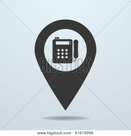 Map Pointer With A Payphone Symbol