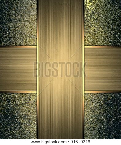 Vintage Metal Background With Gold Nameplate.  Design Template. Design For Site