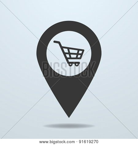 Map pointer with a shopping cart symbol