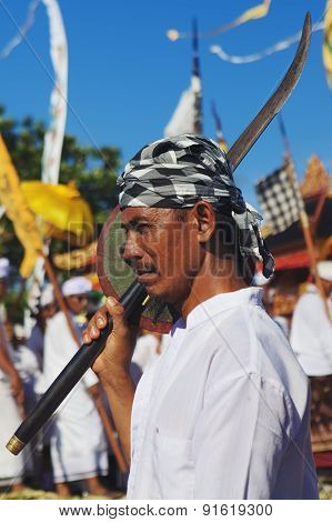 Face Portrait Of Balinese Man With Traditional Sword