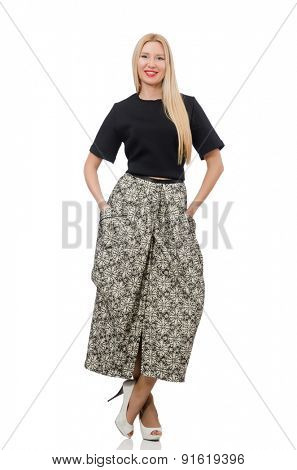 Pretty woman in long skirt isolated on white