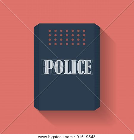 Icon of Police assault shield. Flat style