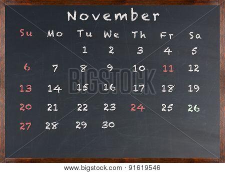 Chalkboard November 2016 Calendar