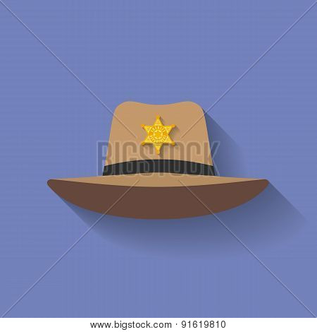 Icon of Sheriff hat, Cowboy hat. Flat style