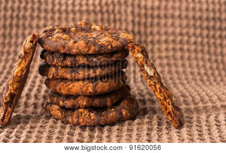 Chocolate Chip Cookies On Linen Napkin Close Up.