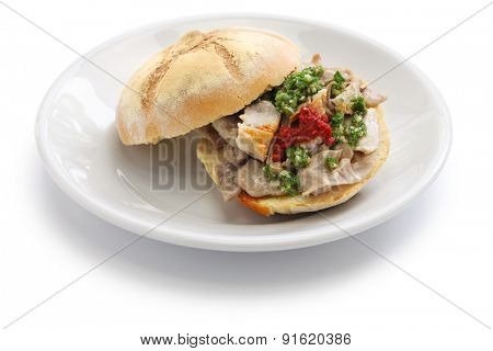 lampredotto sandwich, italian food isolated on white background