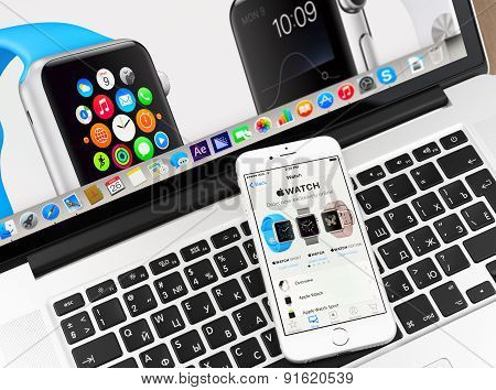 Apple watch on iPhone 6 and Macbook display