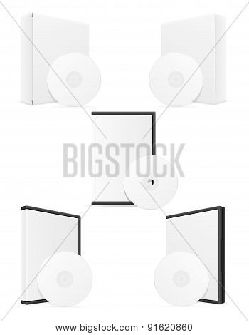 white cd and dvd bisk box packing vector illustration