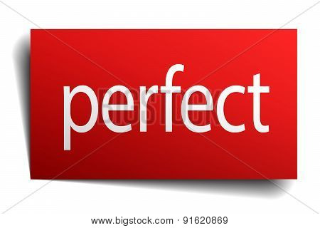 Perfect Red Square Isolated Paper Sign On White