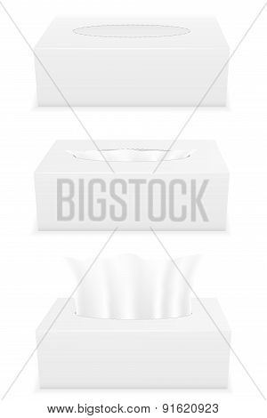 White Tissue Box Set Icons Vector Illustration
