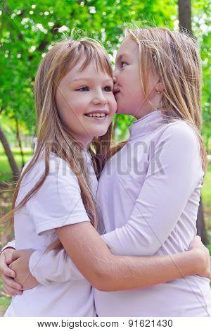 Smiling Whispering Girls In Summer