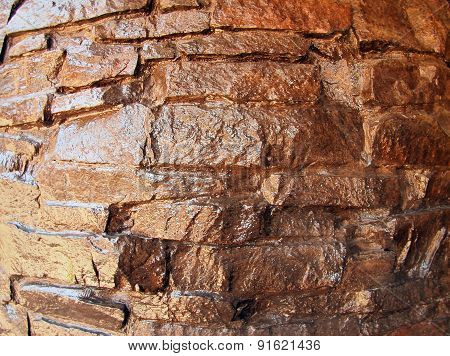 The Wall Of The Large Natural Stone Closeup