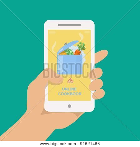 Online cookbook. Search for recipes in web. Vector illustration