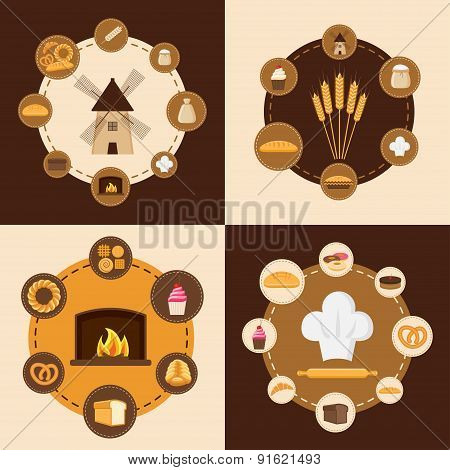 Set of different kinds of bread sweet pastries and bakery products