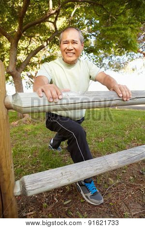 Senior man exercising