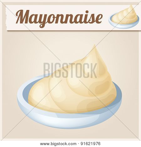 Mayonnaise. Detailed Vector Icon.