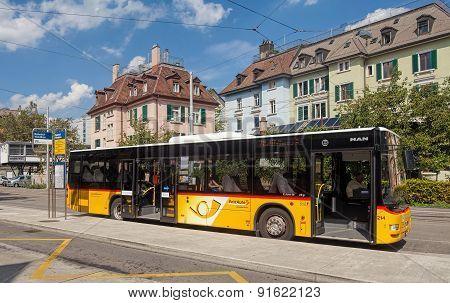 Postauto Bus In Zurich