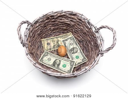 Money And An Egg In The Basket Isolated On A White Background