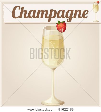 Champagne with strawberry. Detailed Vector Icon