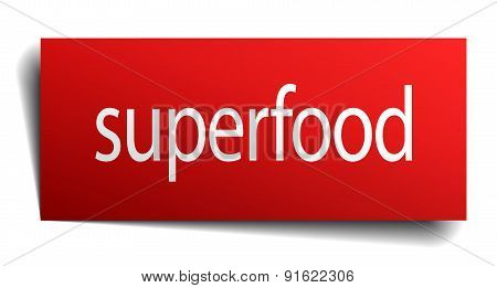 Superfood Red Paper Sign Isolated On White