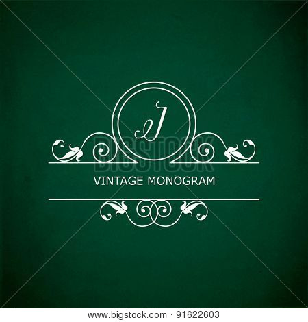 Monogram of the letter I, in retro floral style on green chalkboard background.