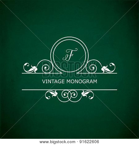 Monogram of the letter F, in retro floral style on green chalkboard background.