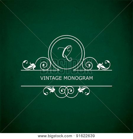 Monogram of the letter Q, in retro floral style on green chalkboard background.