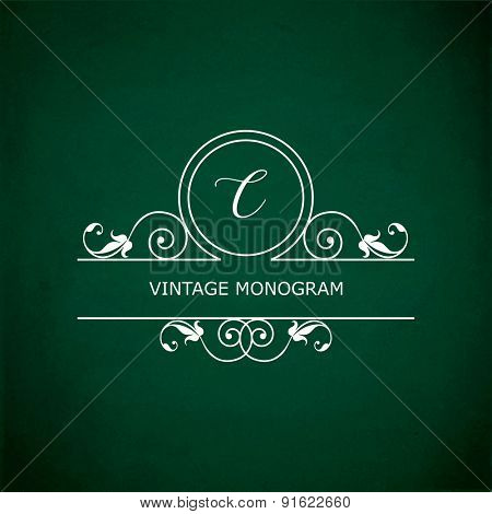 Monogram of the letter C, in retro floral style on green chalkboard background.