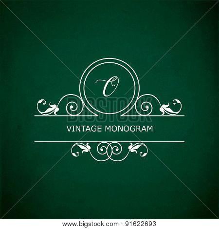 Monogram of the letter O, in retro floral style on green chalkboard background.