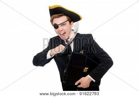 Young man in costume with pirate hat isolated on white