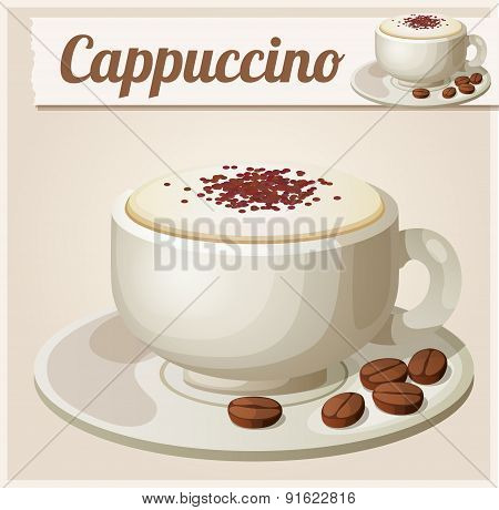 Cup of cappuccino. Detailed Vector Icon