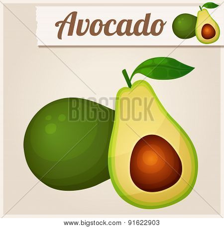 Avocado. Detailed Vector Icon