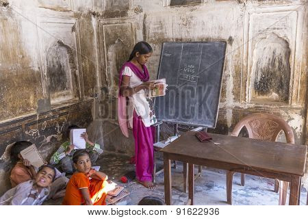 Children Study In Village's School  In Mandawa, India.