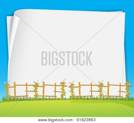 Blank poster with field and flower background