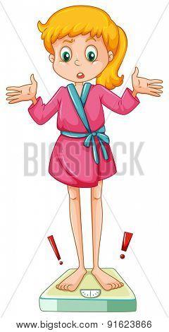 Girl in bathrobe standing on scale