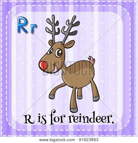 Flashcard letter R is for reindeer