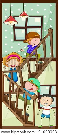 Children walking up the stairs